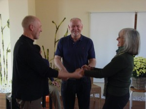 Bob Schrei, Ray McCall and Donna Thomson after Module 3 in Leipzig
